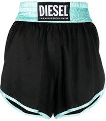 diesel two-tone elasticated shorts - black
