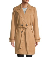 vero moda women's double-breasted trench coat - tobacco brown - size 18