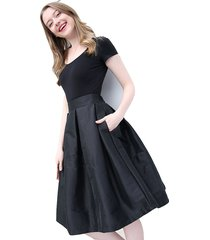 women black a-line ruffle skirt lady taffeta high waist midi pleated party skirt