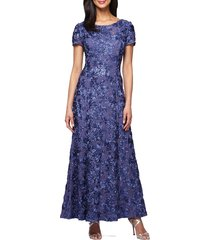 women's alex evenings embellished lace a-line gown, size 18 (similar to 14w) - blue