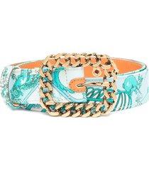 etro cotton belt with aquamarine foulard stamp