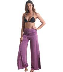 calça pantalona transpassada cós franzido - lilás - líquido