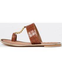 river island womens ravel brown croc chain sandal