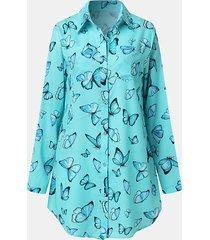 camicetta da donna con bottoni tascabili a maniche lunghe con stampa farfalle