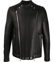 balmain panelled leather jacket - black