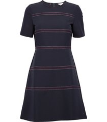angela stitch dress ss knälång klänning blå tommy hilfiger