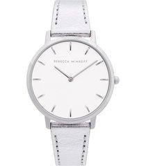 women's rebecca minkoff major metallic leather strap watch, 35mm