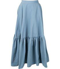 plan c ruffled oversized skirt - blue