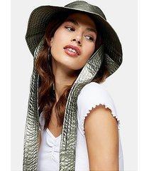 khaki metallic tie bucket hat - khaki