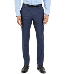 hugo men's slim-fit blue check suit pants, created for macy's
