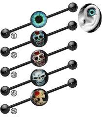 punk industrial barbell skull ear fori trendy trafitto orecchini femminili gioielli maschili