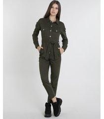 macacão de sarja feminino com bolsos manga longa verde militar