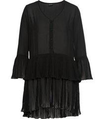 camicetta lunga con volant plissettato (nero) - bodyflirt