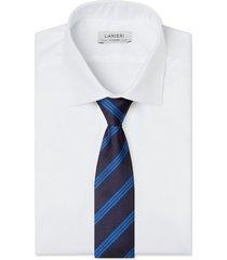 cravatta su misura, lanieri, regimental azzurra, quattro stagioni | lanieri