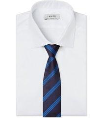 cravatta su misura, lanieri, regimental azzurra, quattro stagioni