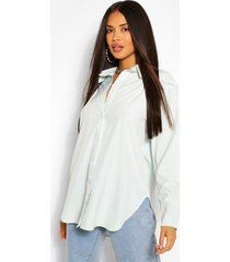 cotton mix oversized button through shirt, sage
