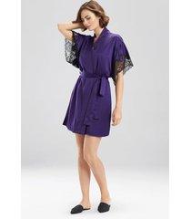 natori plume short sleeves sleep/lounge/bath wrap / robe, women's, purple, size m natori