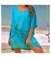 rayon batik caftan, 'balinese breeze in turquoise' (indonesia)