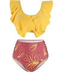 floral leaves print slit tankini swimsuit