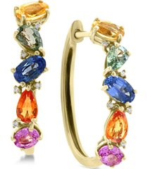 effy multi-sapphire (2-3/4 ct. t.w.) & diamond accent hoop earrings in 14k gold