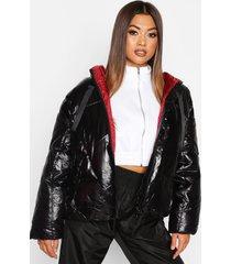 oversized high shine puffer jacket, black