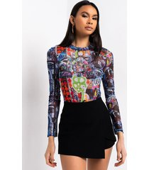 akira downtown mesh long sleeve bodysuit
