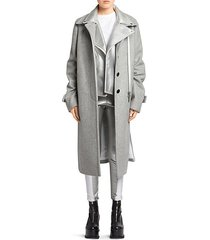 melton wool & metallic leather layered coat
