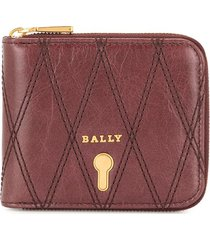 bally cassy quilted zip wallet - red