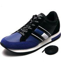 tenis azul-negro-blanco tommy hilfiger