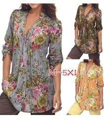 vintage floral print v neck tunic tops women's fashion plus size tops shirt
