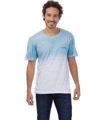 camiseta masculina degrade jateado azul