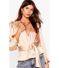 womens bridge the wrap belted satin blouse - champagne