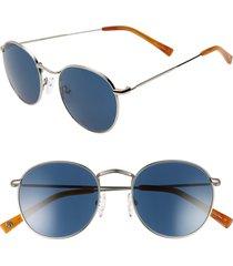 women's brightside charlie 50mm mirrored round sunglasses - silver/ indigo blue