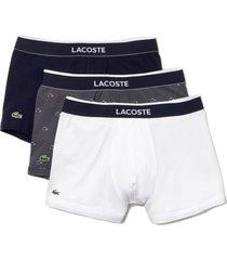 lacoste 3-pack heren boxer - wit/grijs/zwart-s