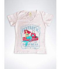 camiseta feminina gola v surf cool tees sereias em conservas rose
