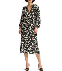 women's veronica beard cecilia floral print long sleeve midi dress