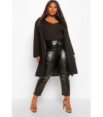 plus luxe geborstelde nepwollen getailleerde jas, black