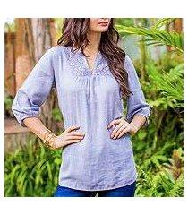 cotton tunic, 'poinsettia blue' (thailand)
