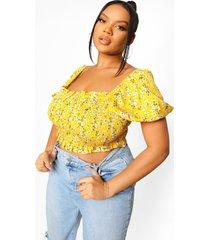 plus bloemenpatroon blouse met uitgesneden schouders, yellow