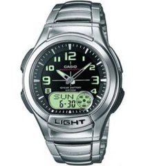 reloj casio aq_180wd_1bv plateado acero inoxidable
