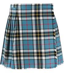 acne studios plaid pleated mini skirt - blue