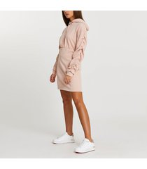 river island womens pink hooded bodycon dress
