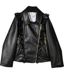 simonetta biker jacket in synthetic fiber