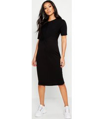 maternity knot front tshirt midi dress, black