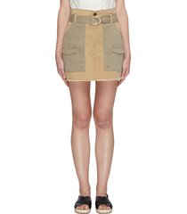 paperbag waist patch pocket belted skirt