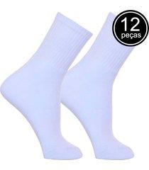 kit com 12 pares de meias new life branca básica 39 a 43