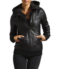 new handmade women hooded leather jacket, women leather jackets, fashion jacket