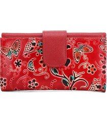 billetera grande 630 cuero tala rojo flores
