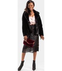 lanette sequin midi skirt - black