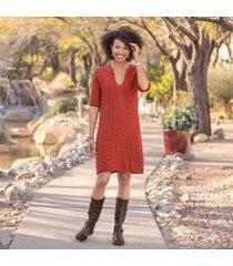 sundance women's pretty in pointelle dress in paprika small